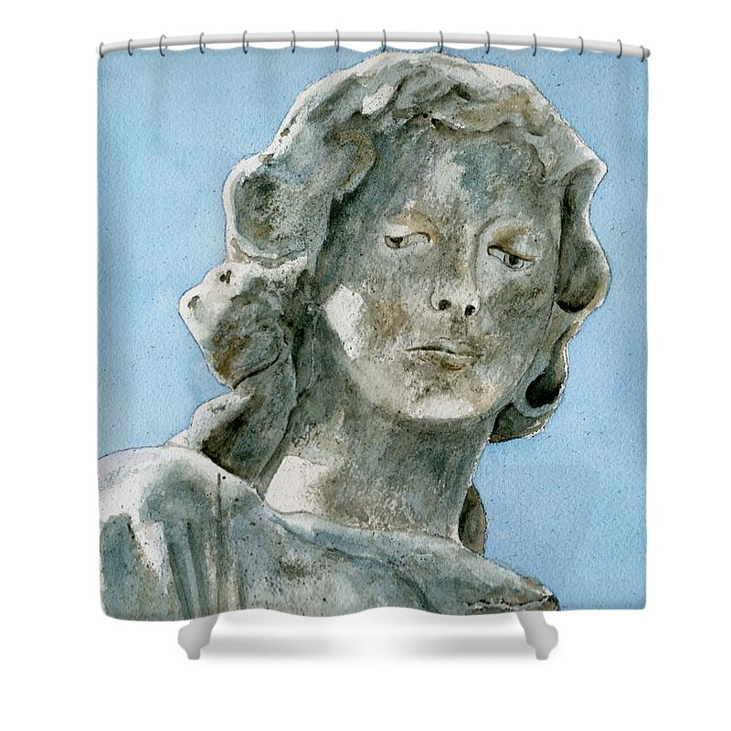 Portrait Watercolor Cemetery Statue Sky Woman Shower Curtain featuring the painting Solitude. A Cemetery Statue by Brenda Owen