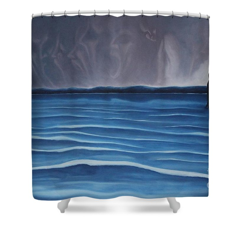 Tmad Shower Curtain featuring the painting Solitude by Michael TMAD Finney