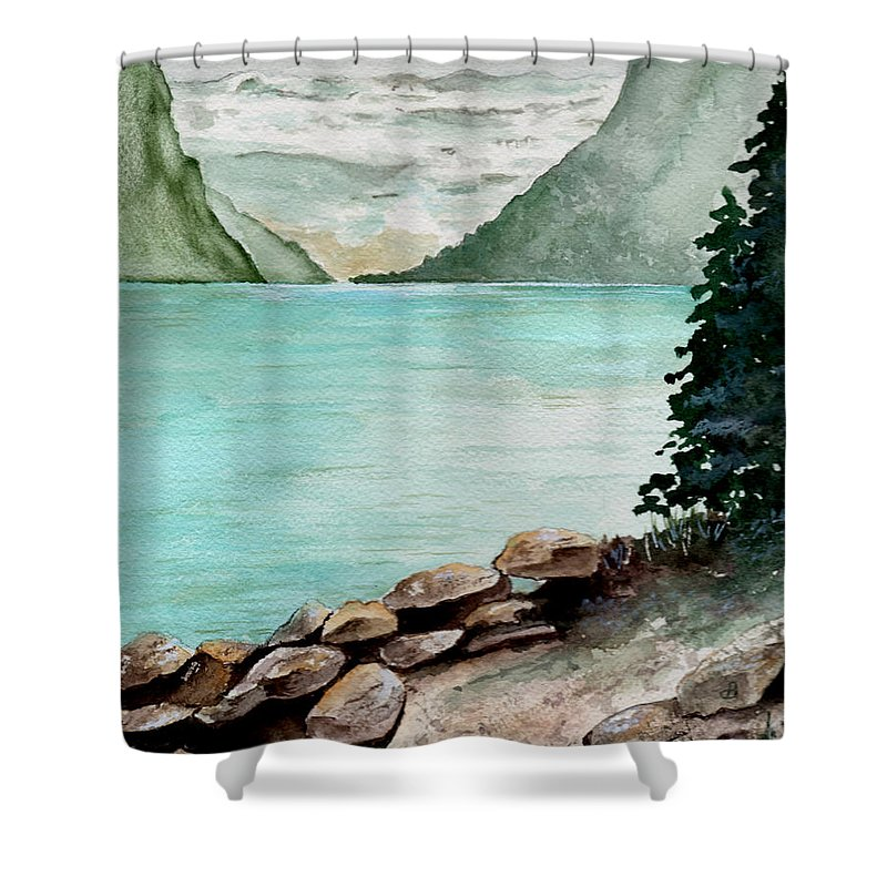 Watercolor Shower Curtain featuring the painting Solitude Of The Lake by Brenda Owen