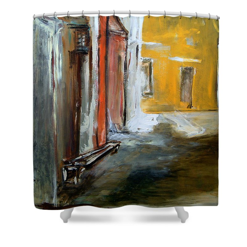 Easter Shower Curtain featuring the painting Solitude by Rome Matikonyte