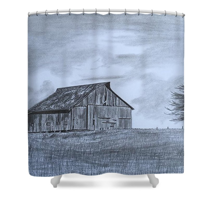 Barn Shower Curtain featuring the drawing Solitude by Tony Clark