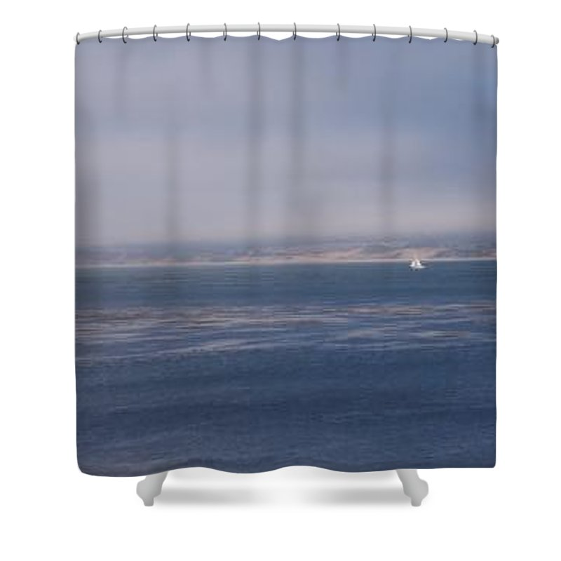 Sailing Outdoors Sail Ocean Monterey Bay Sea Seascape Boat Shoreline Sky Pacific Nature California Shower Curtain featuring the photograph Solo Sail In Monterey Bay by Pharris Art