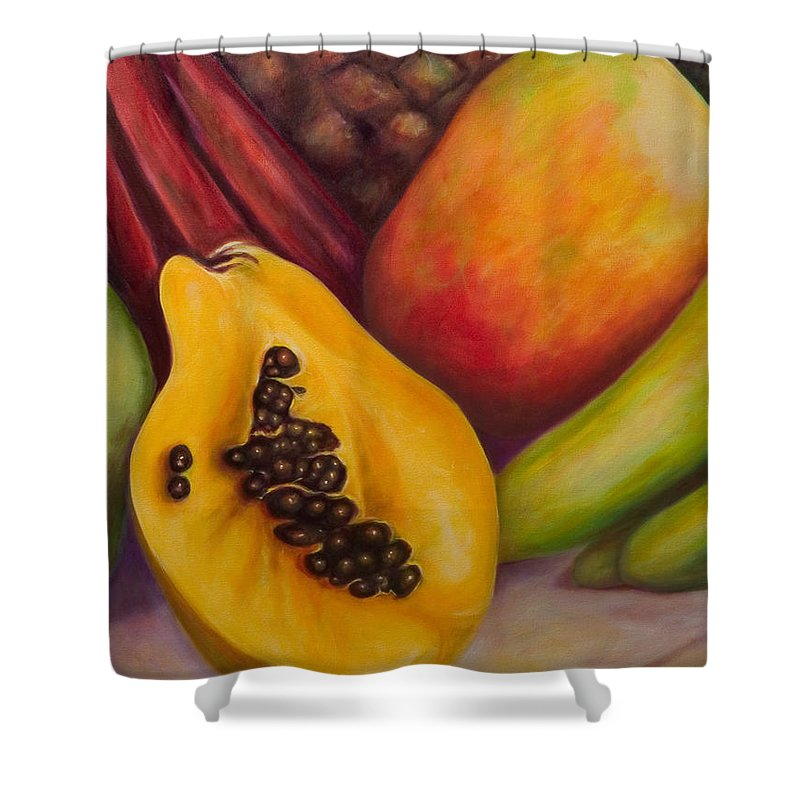 Tropical Fruit Still Life: Mangoes Shower Curtain featuring the painting Solo by Shannon Grissom