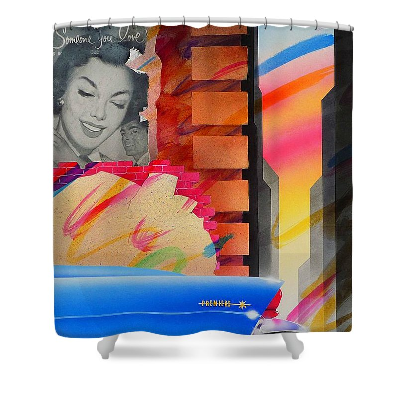 Collage Shower Curtain featuring the painting Someone You Love by Charles Stuart