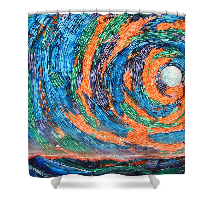 Skyscape Shower Curtain featuring the painting Something Always Happens by Rollin Kocsis