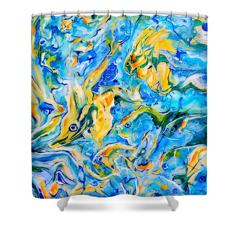 Painting Abstract Fish Sea Ocean Beach Yellow Aqua Blue Sea Life Shower Curtain featuring the painting Something Fishy by Gail Butler