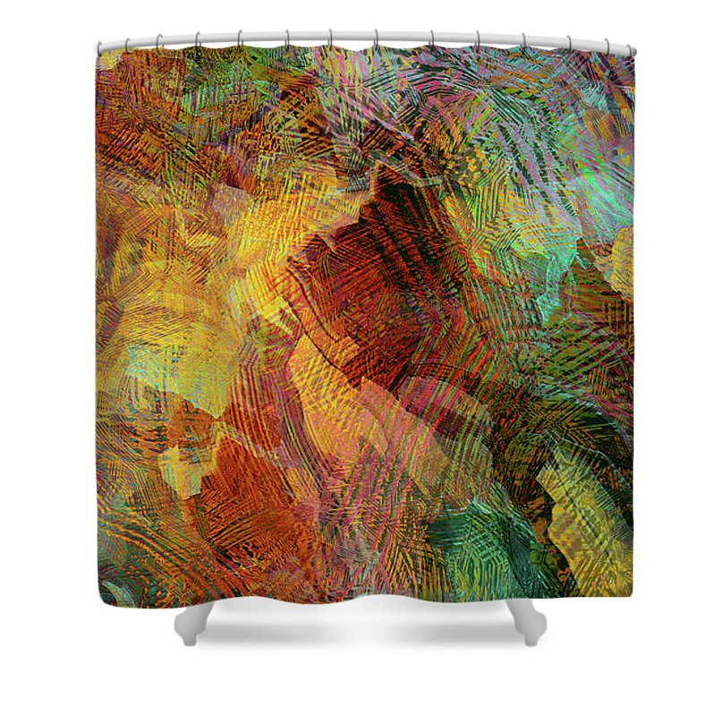 Digital Abstraction Shower Curtain featuring the digital art Something Sweet And Spicy by Grace Iradian