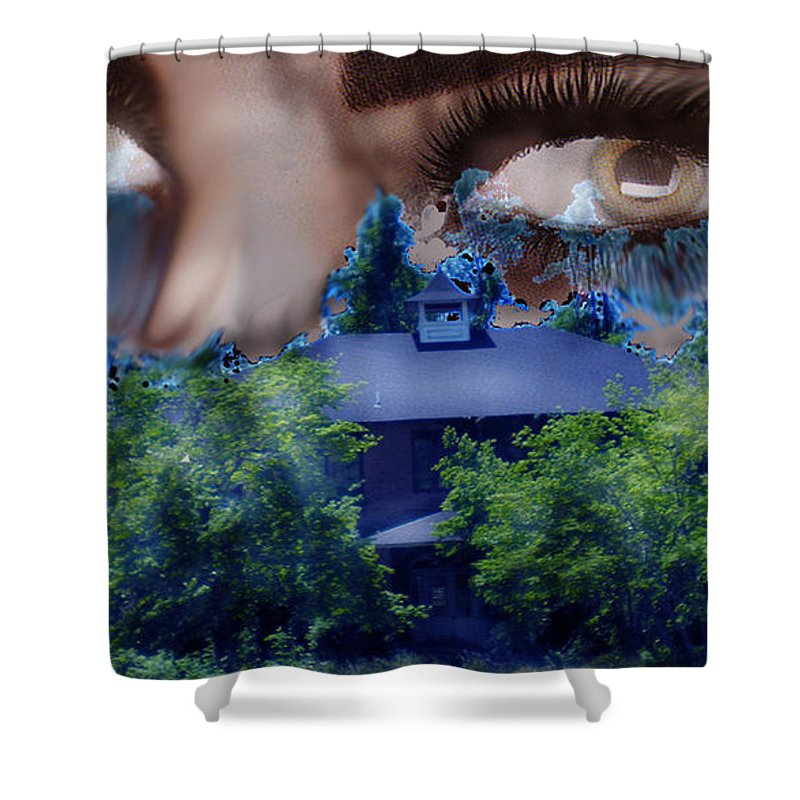 Strange House Shower Curtain featuring the digital art Something To Watch Over Me by Seth Weaver