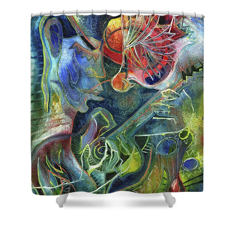 Guitar Shower Curtain featuring the painting Song Of Borrowed Time by Miko At The Love Art Shop