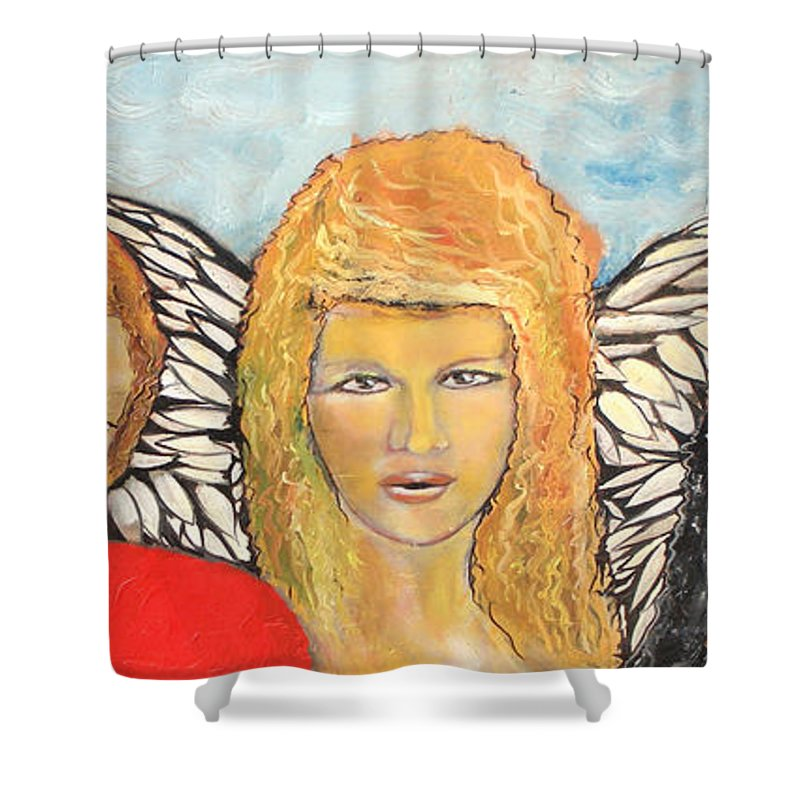 Angels Shower Curtain featuring the painting Song Of The Sisters by J Bauer