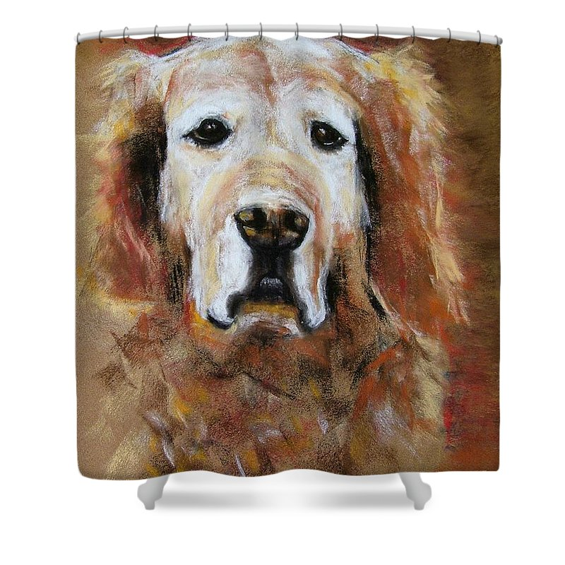 Golden Shower Curtain featuring the painting Sonny by Frances Marino