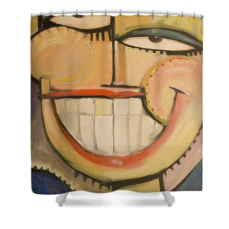 Sunny Shower Curtain featuring the painting Sonny Sunny by Tim Nyberg