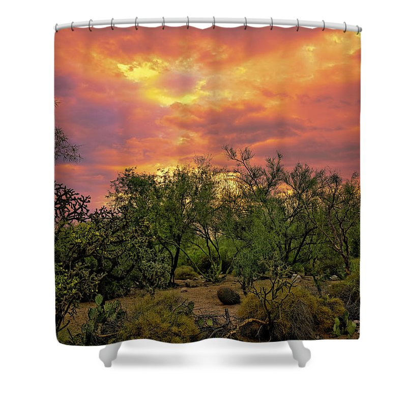 Arizona Shower Curtain featuring the photograph Sonoran Desert Sunset H44 by Mark Myhaver