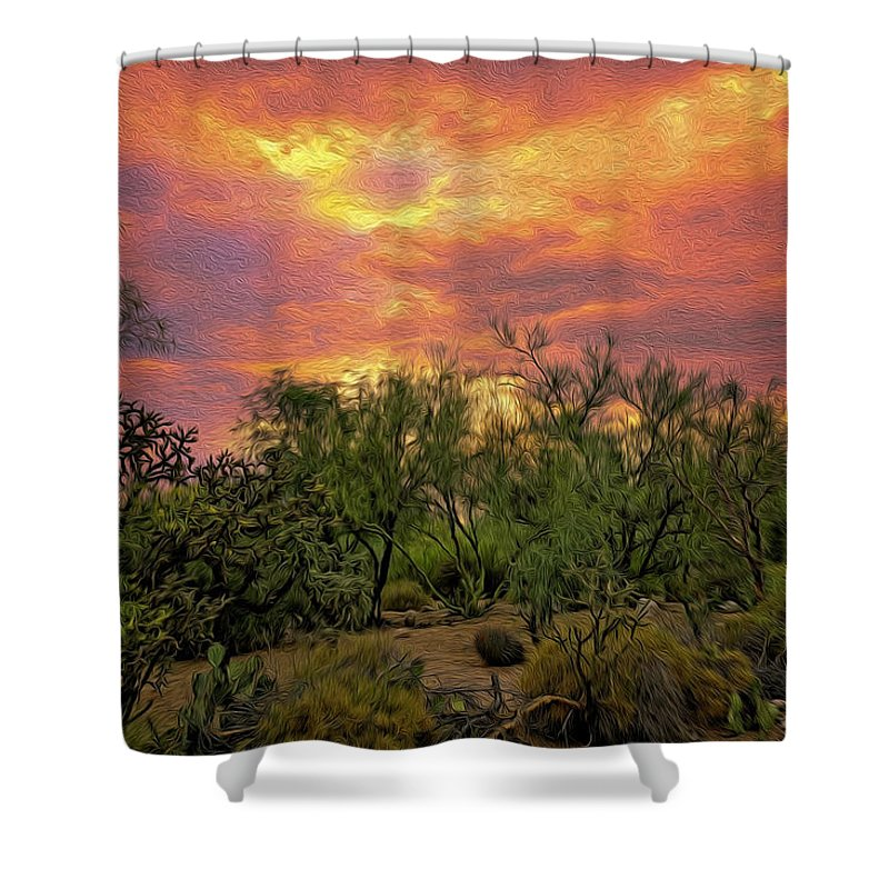Arizona Shower Curtain featuring the photograph Sonoran Desert Sunset Op46 by Mark Myhaver