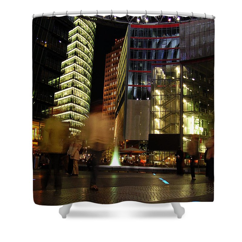 Sony Center Shower Curtain featuring the photograph Sony Center by Flavia Westerwelle