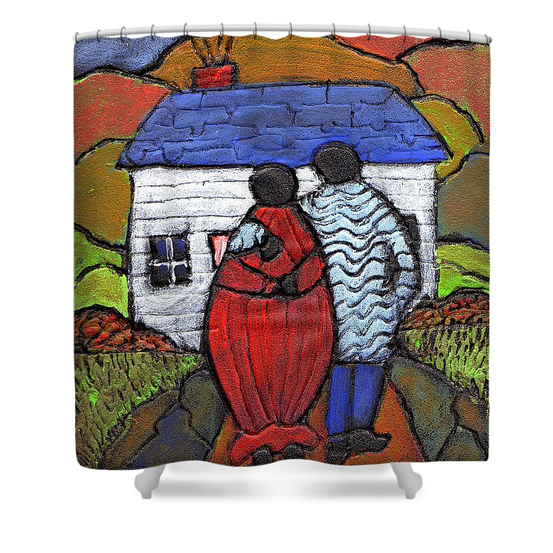 Folk Art Shower Curtain featuring the painting Soon To Be Three by Wayne Potrafka