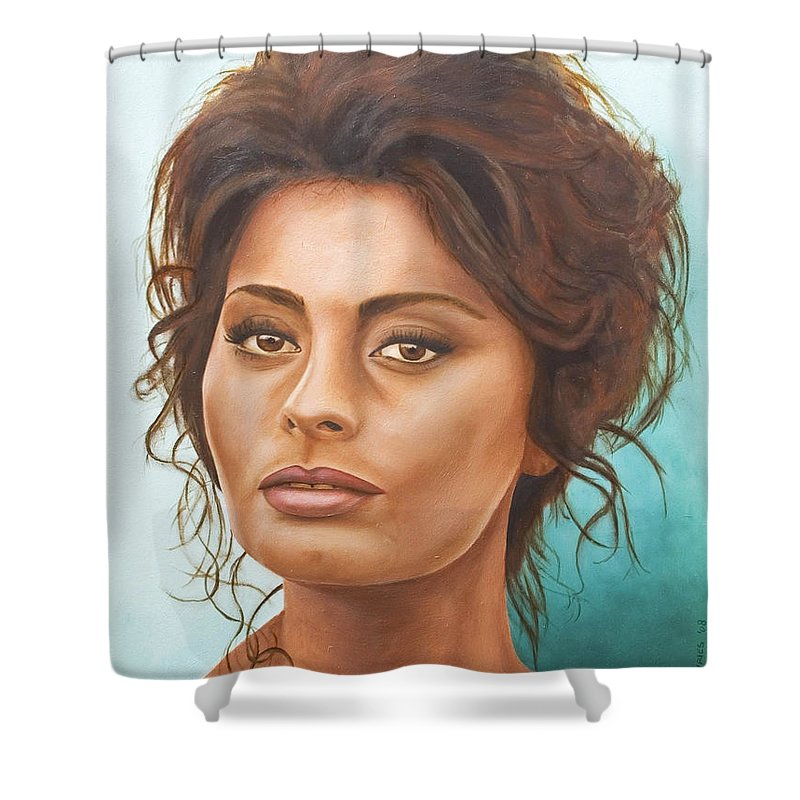 Moviestar Shower Curtain featuring the painting Sophia Loren by Rob De Vries