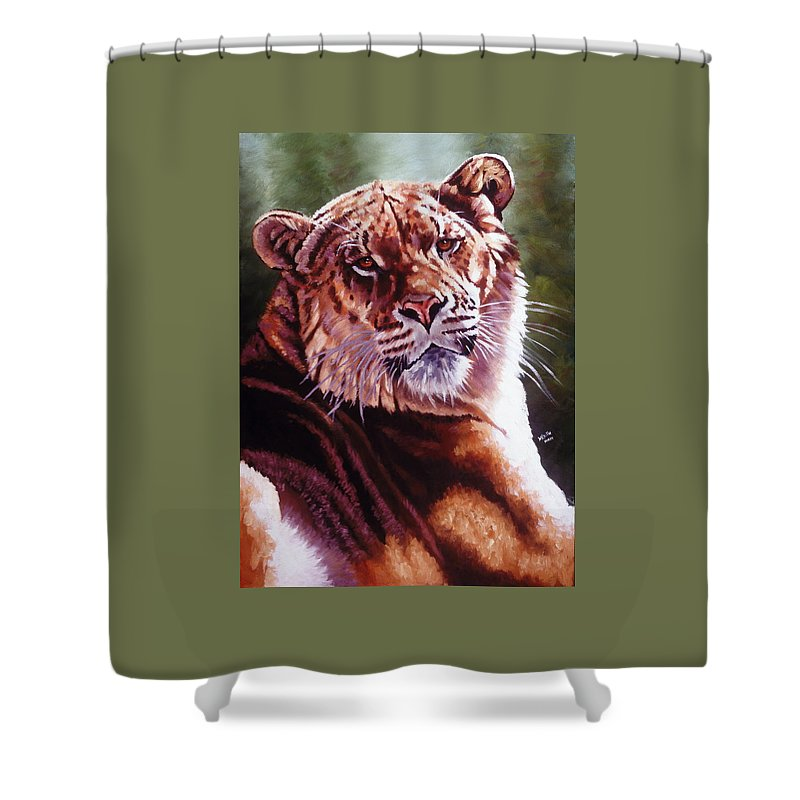Hybrid Shower Curtain featuring the painting Sophie The Liger by Barbara Keith