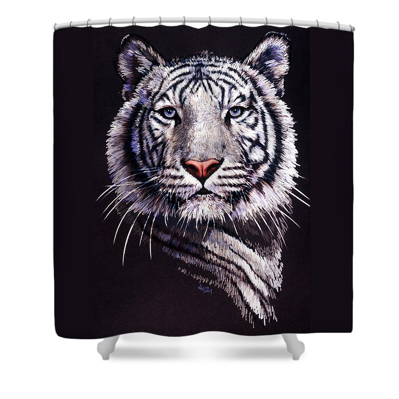 Tiger Shower Curtain featuring the drawing Sorcerer by Barbara Keith