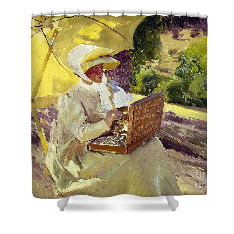 1907 Shower Curtain featuring the photograph Sorolla: Painter, 1907 by Granger
