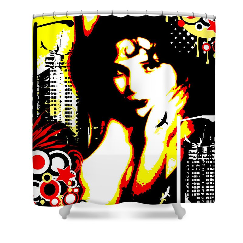 Nostalgic Seduction Shower Curtain featuring the digital art Sorrow City by Chris Andruskiewicz