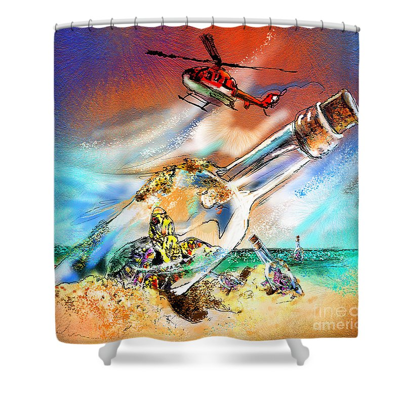 Turtles Shower Curtain featuring the painting Sos To The World by Miki De Goodaboom