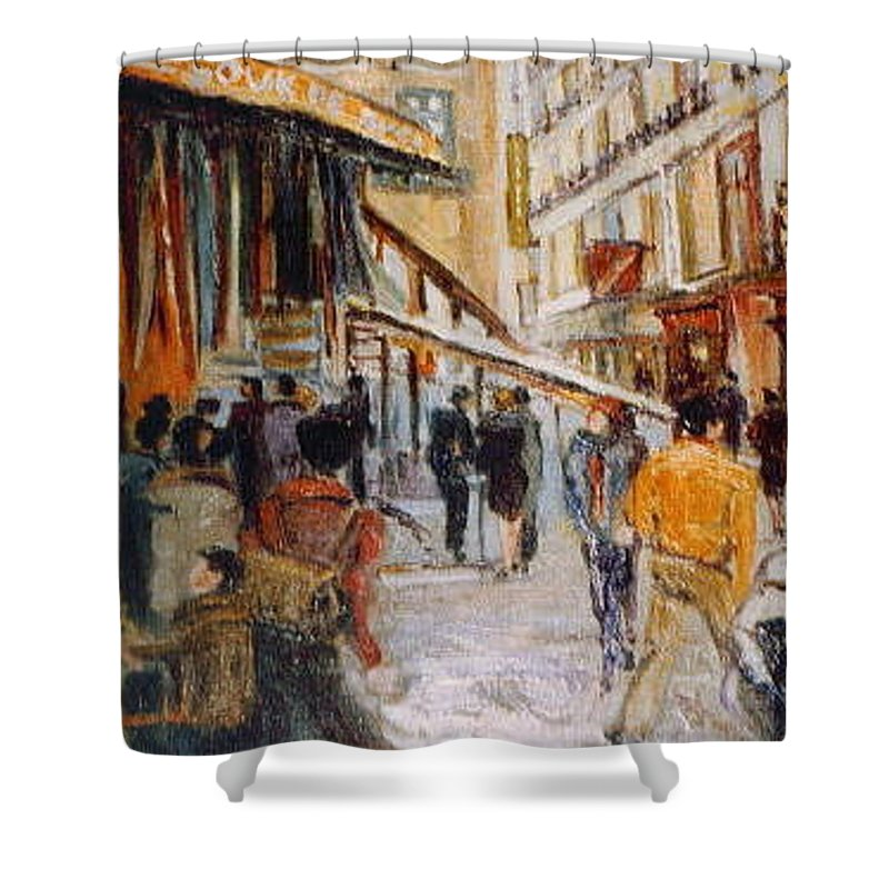 Souk Shower Curtain featuring the painting Souk de Buci by Walter Casaravilla