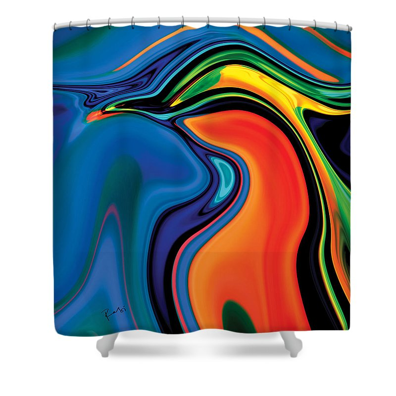 Abstract Shower Curtain featuring the digital art Soul Bird 2 by Rabi Khan