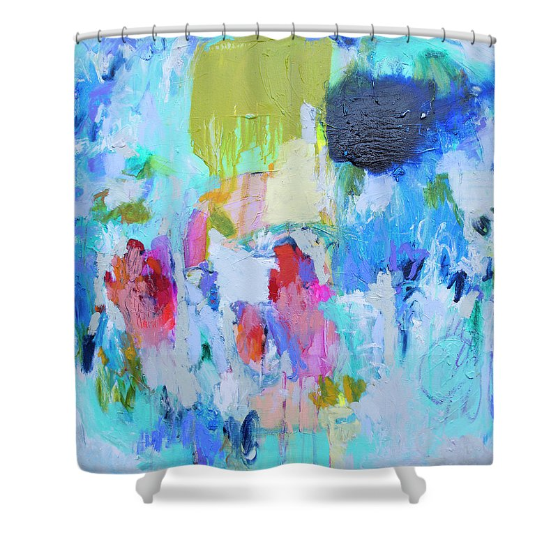 Abstract Shower Curtain featuring the painting Soul Feeling by Claire Desjardins
