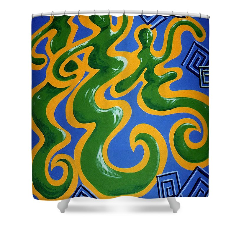 Cyprus Art Shower Curtain featuring the painting Soul Figures 4 by Catt Kyriacou