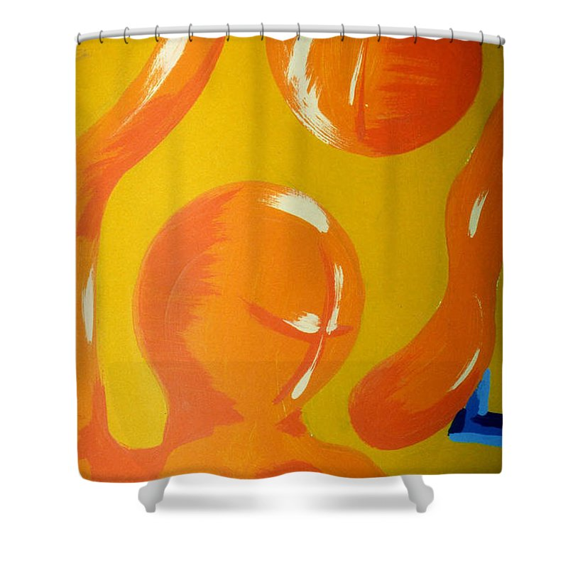 Shower Curtain featuring the painting Soul Figures 6 by Catt Kyriacou