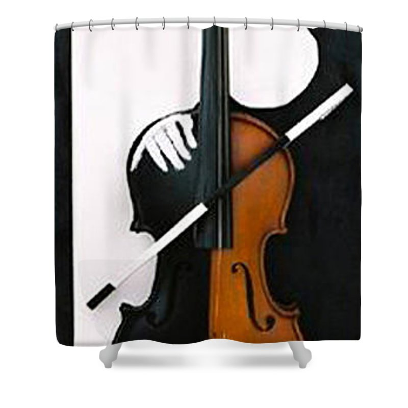 Violin Shower Curtain featuring the sculpture Soul Of Music by Steve Karol