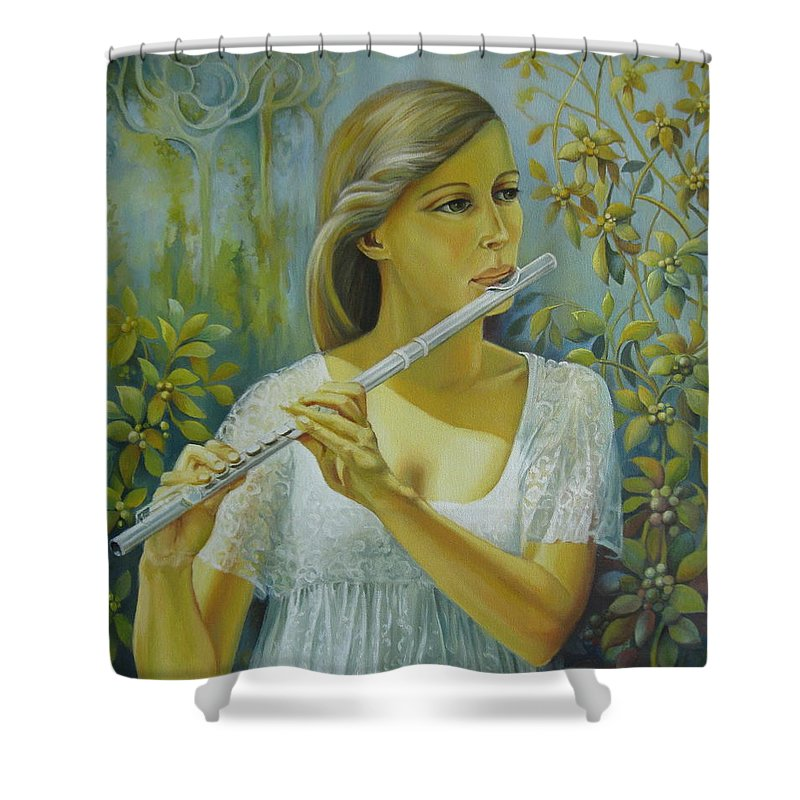 Portrait Shower Curtain featuring the painting Sound by Elena Oleniuc