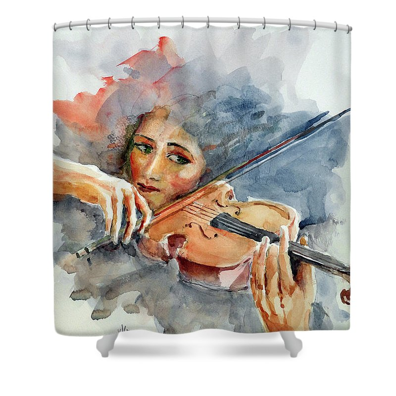 Violin Shower Curtain featuring the painting Sound Of Violin... by Faruk Koksal