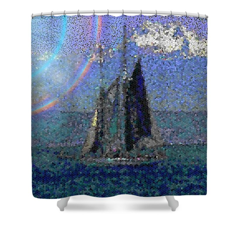 Sail Shower Curtain featuring the digital art Sound Sailin 5 by Tim Allen