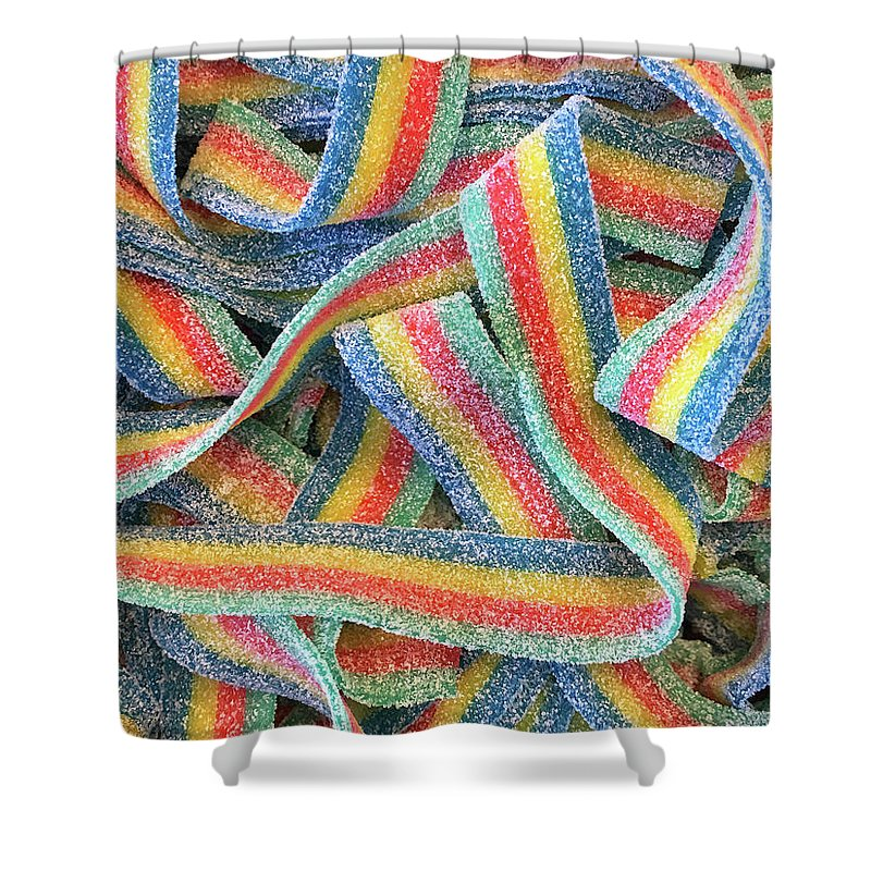 Background Shower Curtain Featuring The Photograph Sour Fruit Roll Up Fun By Sheila Fitzgerald