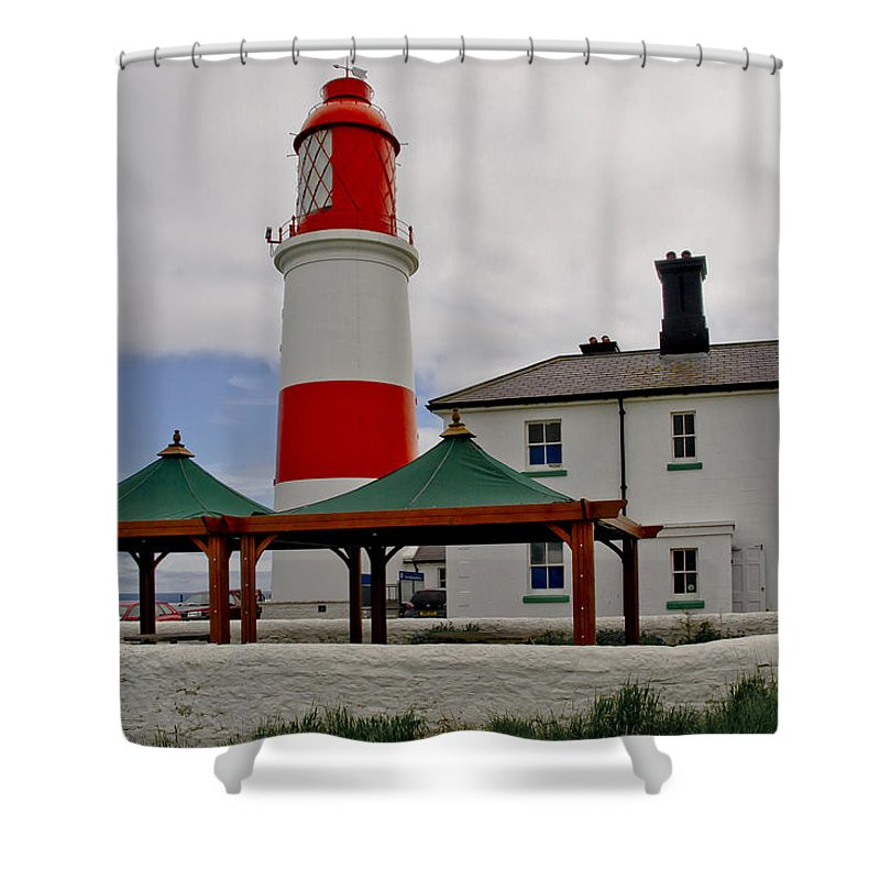 Lighthouse Shower Curtain featuring the photograph Souter From Marsden. by Elena Perelman