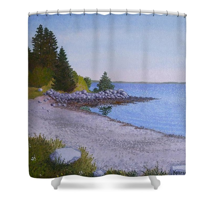 Landscape Shower Curtain featuring the painting South Addison Beach by Karsten Kittelsen