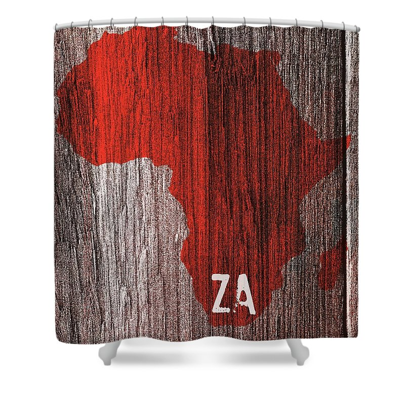 South Africa Shower Curtain featuring the digital art South Africa Red by Malcolm Dewey