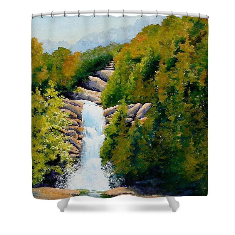 South Carolina Shower Curtain featuring the painting South Carolina Waterfall by Jerry Walker