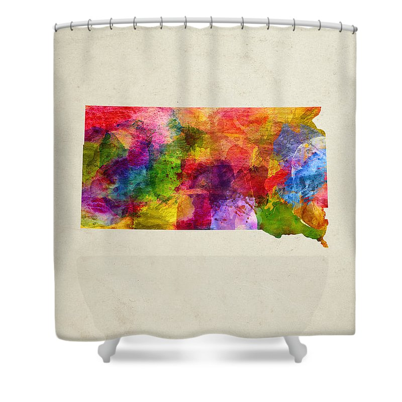 South Dakota Shower Curtain featuring the painting South Dakota State Map 02 by Aged Pixel
