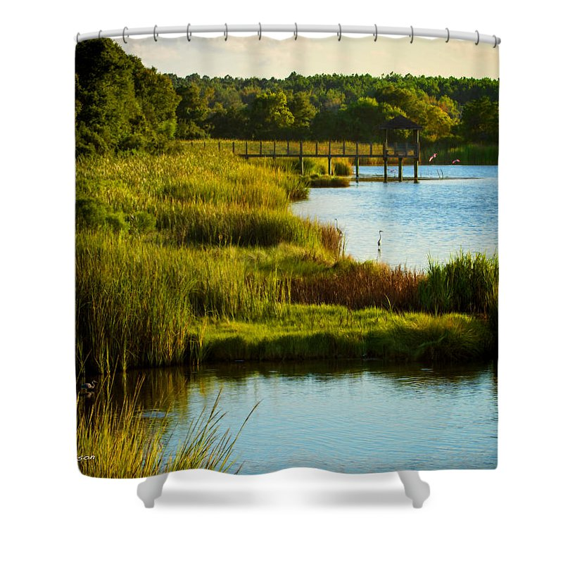 Beach Shower Curtain featuring the photograph South From The Causeway Huntington Beach State Park Sc by Gary Nelson