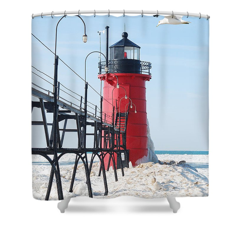 South Haven Light Shower Curtain featuring the photograph South Haven Pierhead Light by Michael Peychich