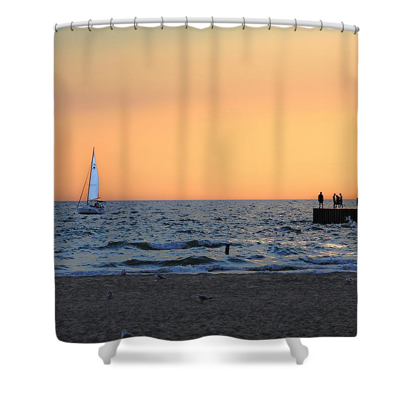Sunset Shower Curtain featuring the photograph South Haven Sunset by Mauverneen Blevins