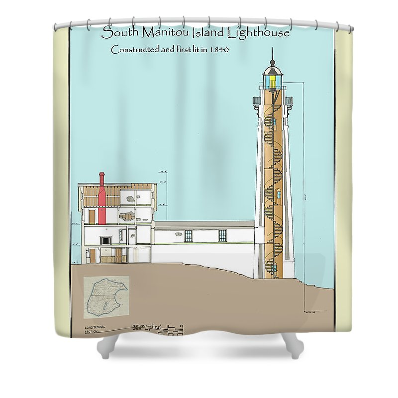 South Manitou Island Lighthouse Shower Curtain featuring the drawing South Manitou Island Lighthouse Color Drawing by Jerry McElroy