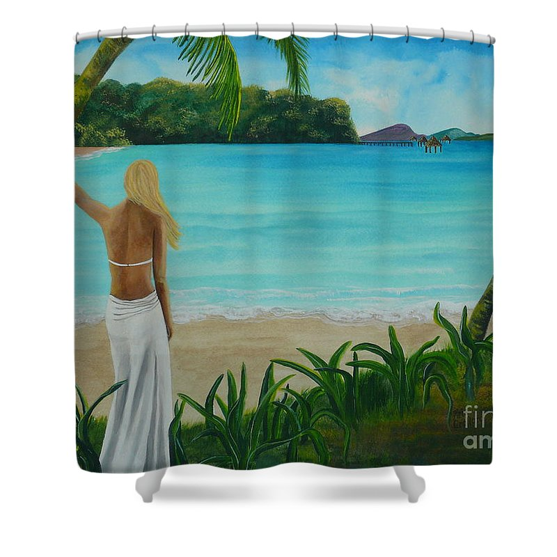 Tropical Shower Curtain featuring the painting South Pacific Dreamin by Kris Crollard
