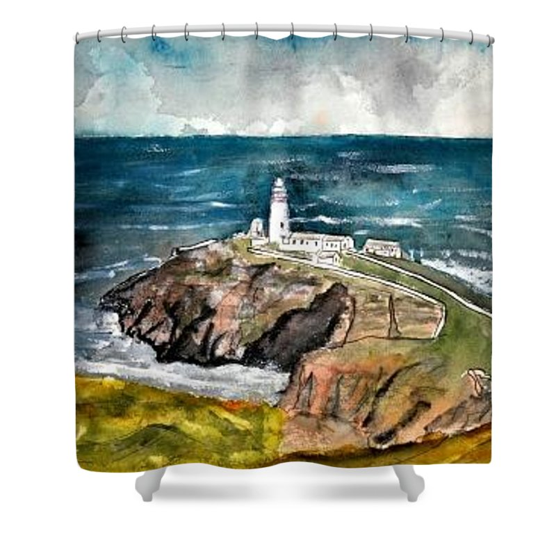 South Stack Lighthouse Shower Curtain featuring the painting South Stack Lighthouse by Derek Mccrea