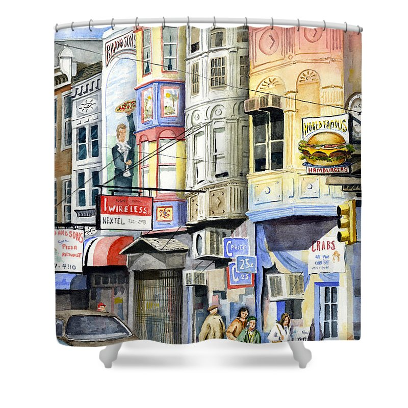 Street Shower Curtain featuring the painting South Street by Sam Sidders