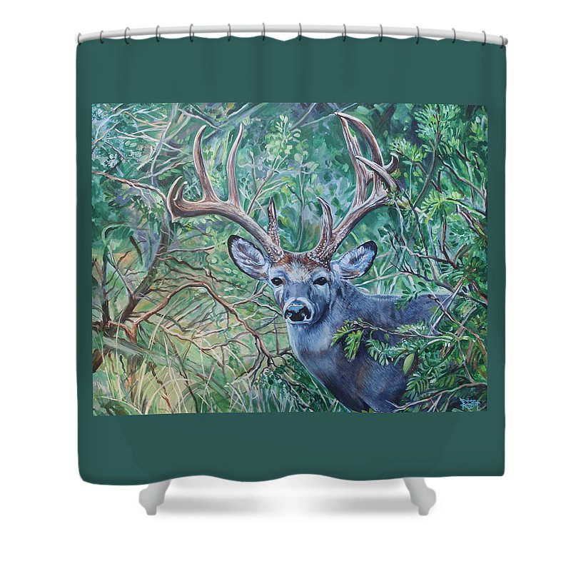 Deer Shower Curtain featuring the painting South Texas Deer in Thick Brush by Diann Baggett