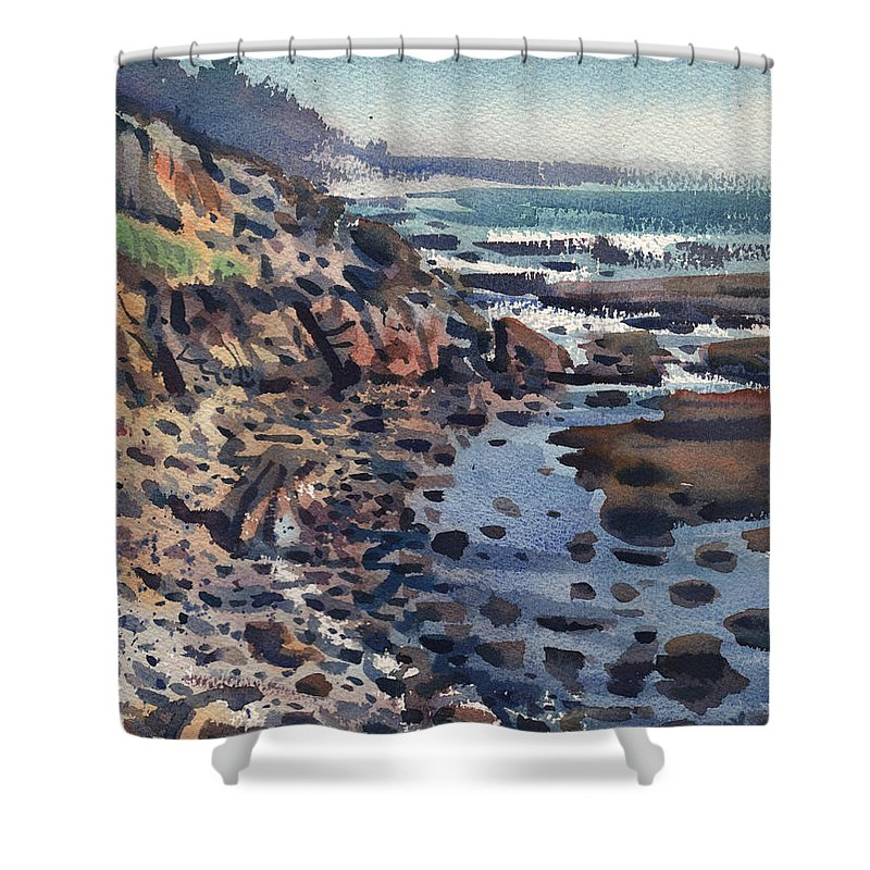 Pacific Shower Curtain featuring the painting South To Pigeon Point by Donald Maier
